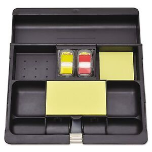 Post it C 71 Recycled Plastic Desk Drawer Organizer Tray Plastic Black