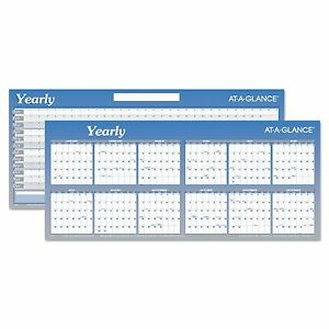 At a glance A177 Large Horizontal Erasable Wall Planner 60 X 26 White blue
