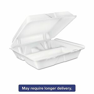 Dart 90ht3r Large Foam Carryout Food Container 3 compartment White 9 2 5x9x3