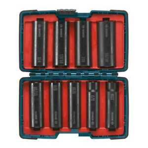 9 piece 1 2 In Deep Well Impact Socket Set Bosch Tools 27286 New