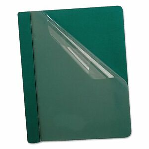 Oxford 58817 Premium Paper Clear Front Cover 3 Fasteners Letter Green 25 box