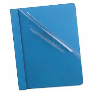 Oxford 58801 Premium Paper Clear Front Cover 3 Fasteners Letter Light Blue