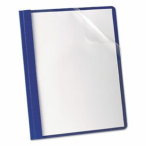 Oxford 58802 Premium Paper Clear Front Cover 3 Fasteners Letter Blue 25 box