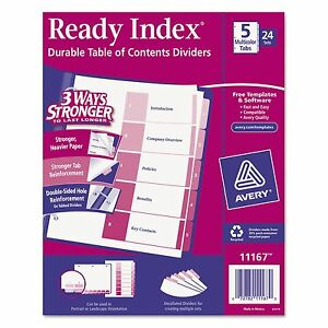 Avery 11167 Ready Index Customizable Table Of Contents Asst Dividers 5 tab