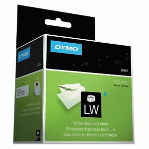 Dymo 30252 Labelwriter Address Labels 1 1 8 X 3 1 2 White 350 Labels roll 2