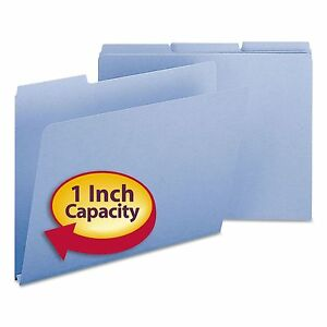 Smead 21530 Recycled Folders One Inch Expansion 1 3 Cut Top Tab Letter Blue