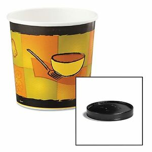Huhtamaki 71851 Soup Food Containers W vented Lids Streetside Pattern 16 Oz