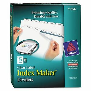Avery 11556 Print Apply Clear Label Dividers W white Tabs 5 tab Letter 50