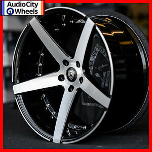 20 Mq 3226 Wheels Black Machined Face Staggered Rims 5x112 Fit Mercedes Benz