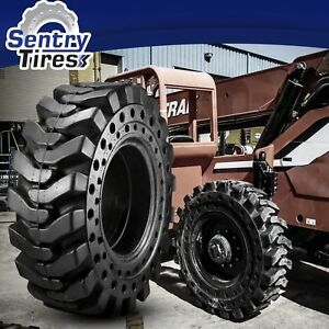 1300x24 Sentry Tire Telehandler 4 Solid Tires w Wheels 13 00x24 1300 24 For Jlg