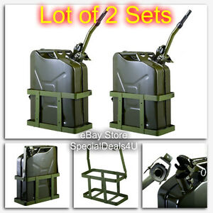 2pc Jerry Can 5 Gallon 20l Gas Fuel Army Metal Steel Tank Holder Nato Military