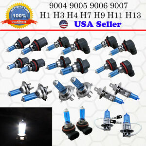 2x 1 Pair Xenon Headlight Halogen Light Bulb Replacement Super White 6000k