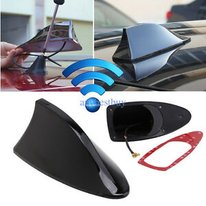 Black Car Shark Fin Universal Roof Tail Antenna Radio Fm Am Decorate Aerial