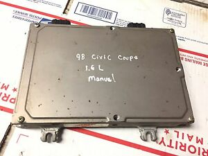 98 99 00 Honda Civic 1 6l Manual Coupe Ecu Engine Control Ecm Engine Computer