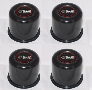 Set Of 4 Weld 605 5030 Wheel Rim Black Center Cap Fits 3 540 Dia Bore Push Thru