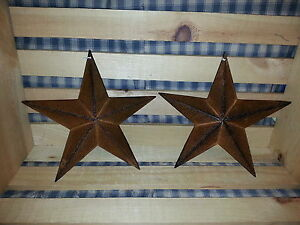 Set Of 2 Primitive 8 Rusty Barn Star Decorate Crafting Rustic Metal Stars
