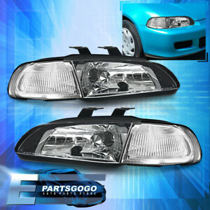 For 92 95 Civic Eg 2dr Replacement Bolt On 1 Pc Black Headlights Clear Corner
