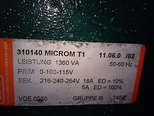 Elna 310140 Microm T1 1360 Va Power Supply Transformer