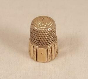 Antique Simons Brothers Silver Gilt Thimble Size 8