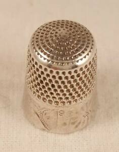 Antique Simons Brothers Silver Thimble Size 9