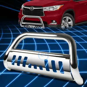 For 14 16 Toyota Highlander 3 Chrome Ss Bull Bar Push Front Bumper Grille Guard