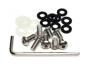 21 Pc Slim Line Anti Theft Stainless Steel Rear License Plate Screw Kit For Bmw