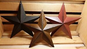 8 Metal Barn Stars Set Of 3 Black Burgundy Rusty Primitive Country