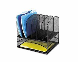 Black Mesh Office Desk Paper File Storage Organizer Desktop Supply Tray Holder