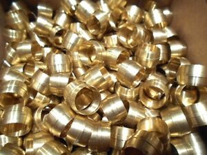 100 Pcs Crawford 5 8 Brass Compression Sleeves Ferrels Fittings