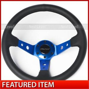 Circuit Performance Cp330 Deep Dish Steering Wheel Blue W Black Leather Fits Nrg