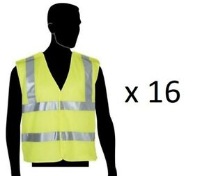 16 Qty Safety Vest High Visibility Size Large Mesh Class 2 5 point