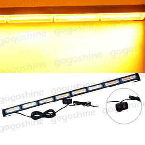 Cob Traffic Advisor Emergency Flash Strobe Led Work Light Bar Warn Amber Kit Usa