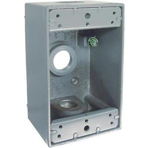 Gray Single gang Weatherproof Outdoor Outlet Box Pack Of 6