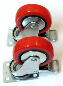 Lot Of 2 4 Caster All Swivel Plate Red Polyurethane Wheels With Brake