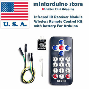 Infrared Ir Receiver Module Wireless Remote Control Kit With Battery For Arduino