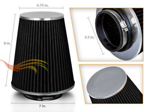 3 5 Cold Air Intake High Flow Truck Filter Universal Black For Honda Volvo