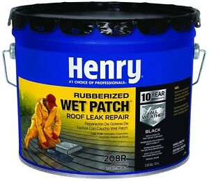 Henry Rubber Wet Patch Roof Cement Stops Repairs Leaks Sealing Black 3 30 Gal