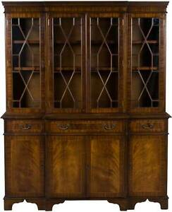 Antique Style English Breakfront Flame Mahogany Bookcase Bookshelf China Cabinet