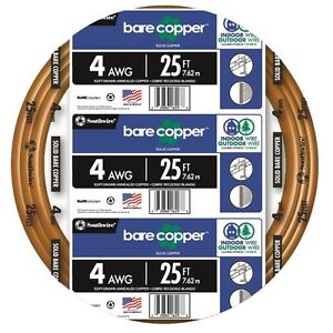 25 ft Roll 4 Awg Gauge Electrical Solid Soft Drawn Ground Bare Pure Copper Wire