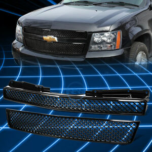 Black Abs Front Bumper Diamond Grille For 2007 2012 Suburban Tahoe Avalanche