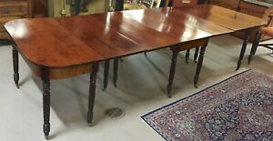 Antique 3 Part Federal Sheraton Mahogany Dining Banquet Table C1820s Magnificent