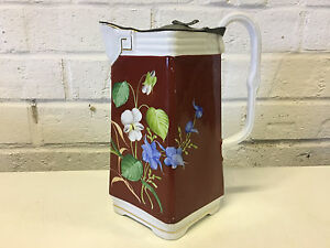 Antique Likely English Porcelain Teapot Red Floral Dec W Pewter Or Tin Lid