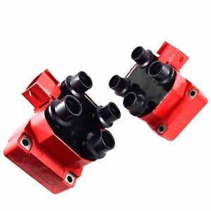 Fits 97 99 Ford F 150 F 250 4 6 Pack Of 2 Red New Ignition Dis Spark Coils Pack