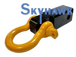 Solid Shank Shackle Yellow D ring Receiver Hitch Capacity 10 000 Lbs