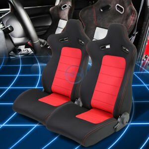 Black Red Woven Fabric Reclinable Sports Pair Racing Seats Slider Rails X 2