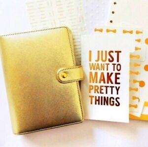 A6 Gold Silver Ring Bound Binder Planner Monthly Weekly Organizer Kit gift Box