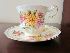 Vintage Rosina China Co England Tea Cup Saucer Aster Special Flowers