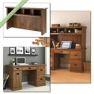 Computer Desk With Storage Home Office Furniture Wood Desks or Hutch Abby Oak