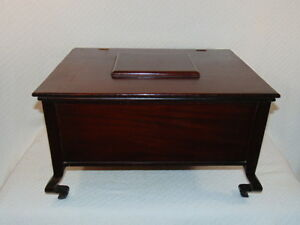 Vintage Antique Federal Empire Style Mahogany Document Sewing Box Unusual Legs