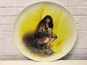 Vintage Possibly Antique Large Ceramic Charger Painted Woman Musical Instrument